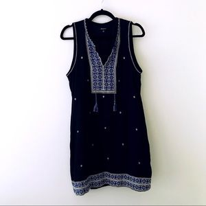 MADEWELL Black Embroidered Shift Dress